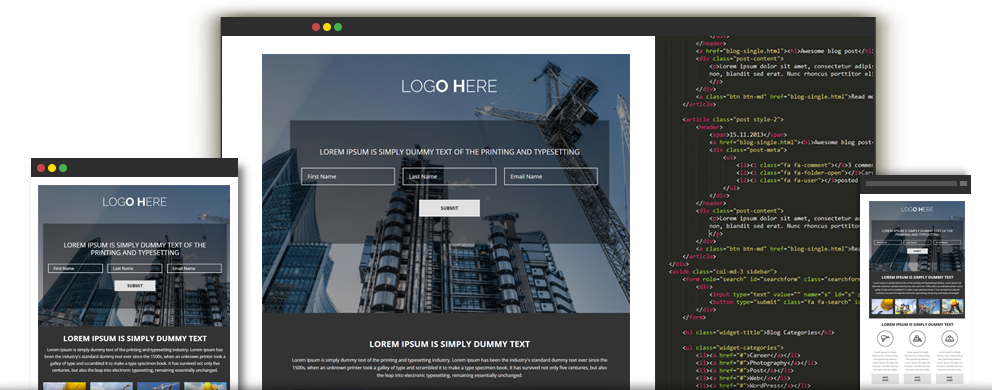 PSD to HTML Landing Page, Responsive Landing Page HTML Conversion